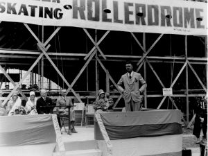 Culver City Mayor Reve Houck, is pictured seated in the light suit during the ceremony to celebrate construction of our historic Rollerdrome in the late 1920s. Houck was also an advocate for Victory Park, Culver City's first park, and the financing of the first city bus, which led the way to establish Culver City's bus system, the second oldest in the state.
