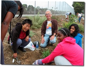 Jim Lamm (center) with volunteers - Culver City Historical Society