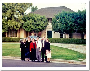 Culver grandson, John Battle with his wife Tammie and children in front of the Delmas Terrace home that was moved to and remains in Cheviot Hills.