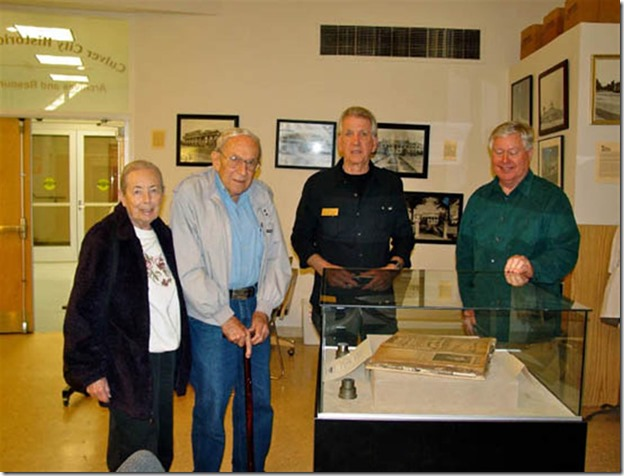 Selma and Stan Abrams, Stu Freeman and Society VP of Programs, Steve Fry, visiting the ARC after the April 21st general meeting - Culver City Historical Society