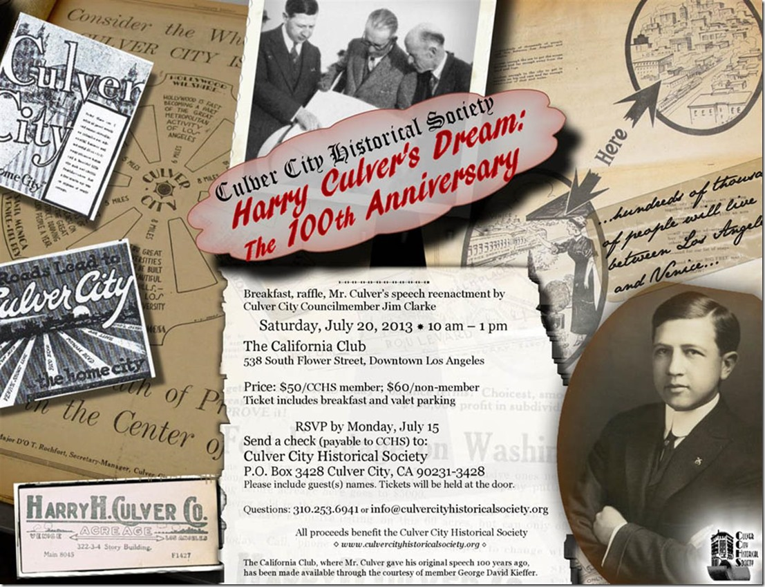 Society to Celebrate 100th Anniversary of Harry Culver's Dream Speech - Culver City Historical Society