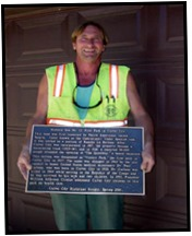 Mike Machado, a descendant of Agustin Machado and part of the team that installed the marker.
